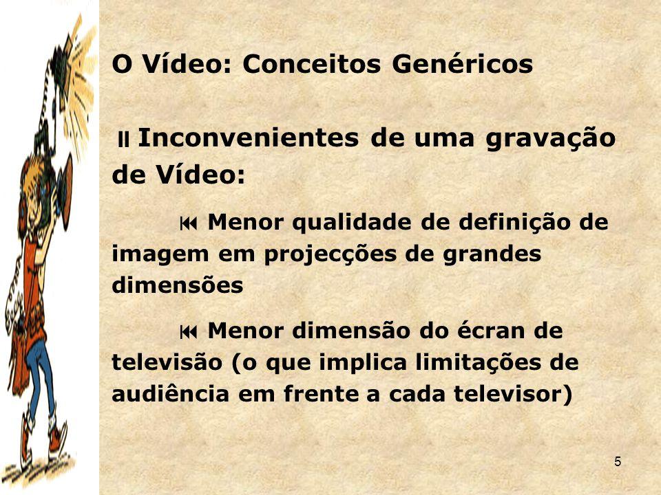 5  Inconvenientes de uma gravação de Vídeo:  Menor qualidade de definição de imagem em projecções de grandes dimensões  Menor dimensão do écran de
