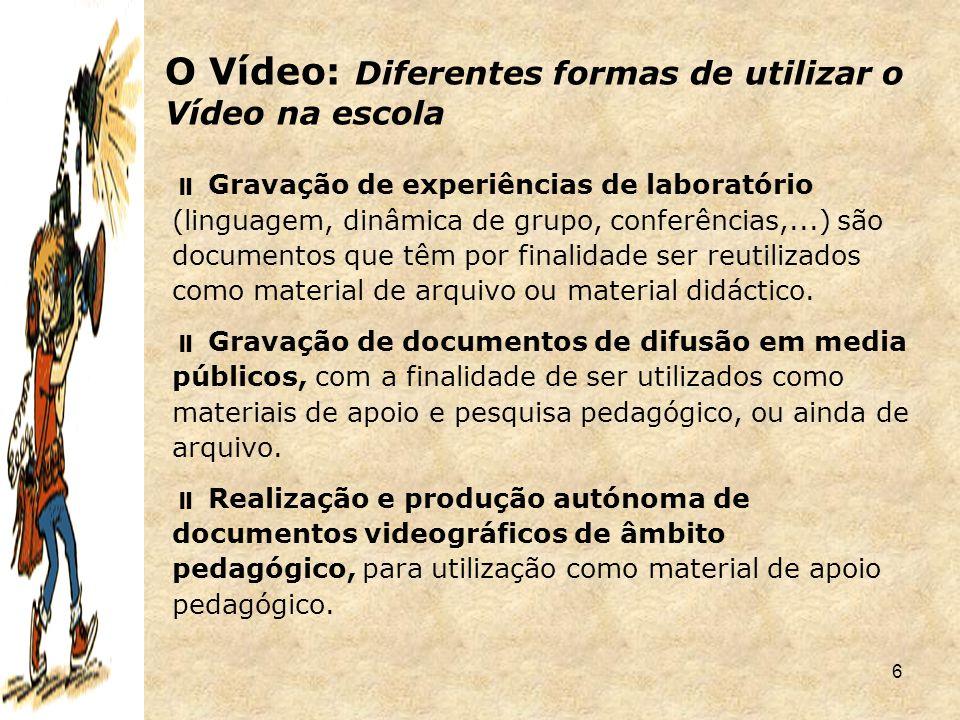 37  Como.Câmara de filmar; cassetes de vídeo; leitor/gravador de vídeo; TV; participantes.