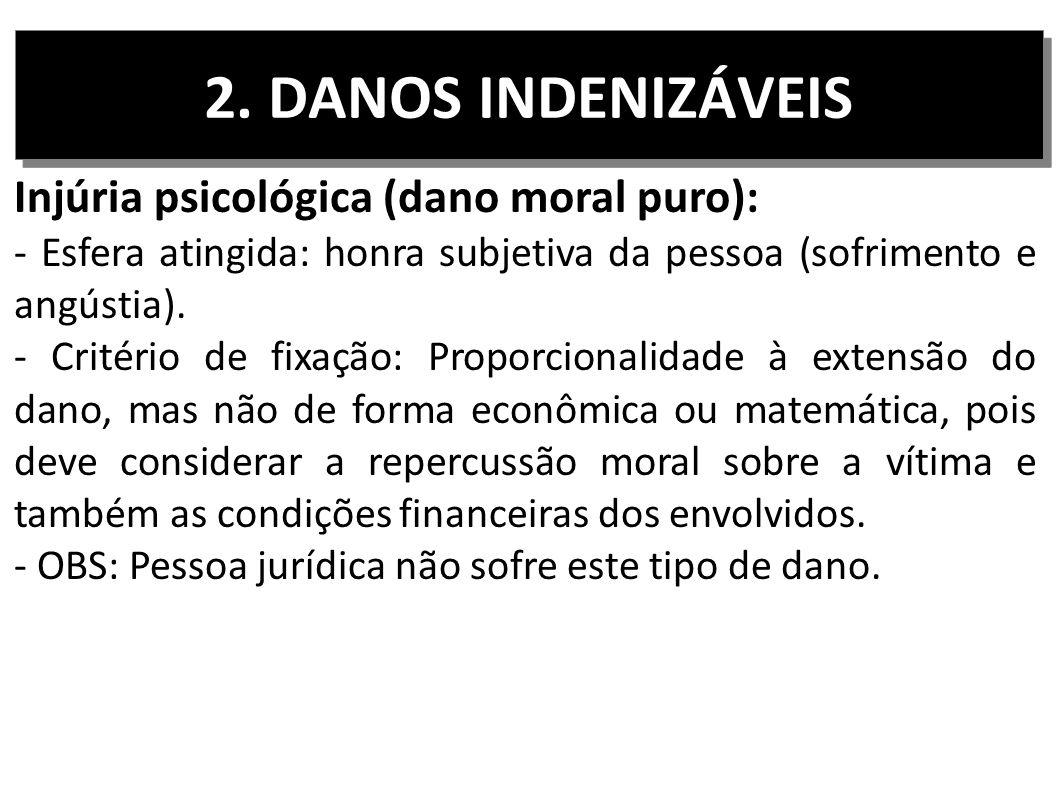 2. DANOS INDENIZÁVEIS Injúria psicológica (dano moral puro): - Esfera atingida: honra subjetiva da pessoa (sofrimento e angústia). - Critério de fixaç