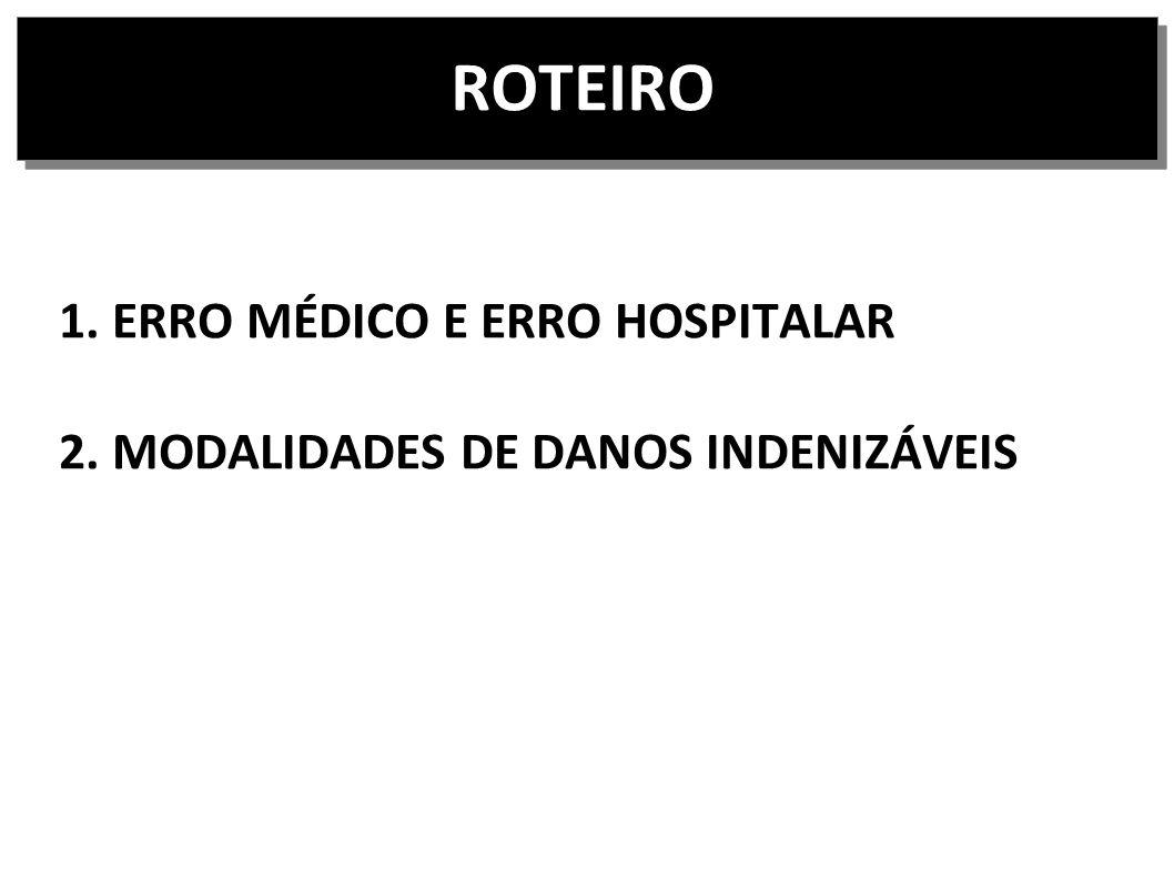 ROTEIRO 1. ERRO MÉDICO E ERRO HOSPITALAR 2. MODALIDADES DE DANOS INDENIZÁVEIS