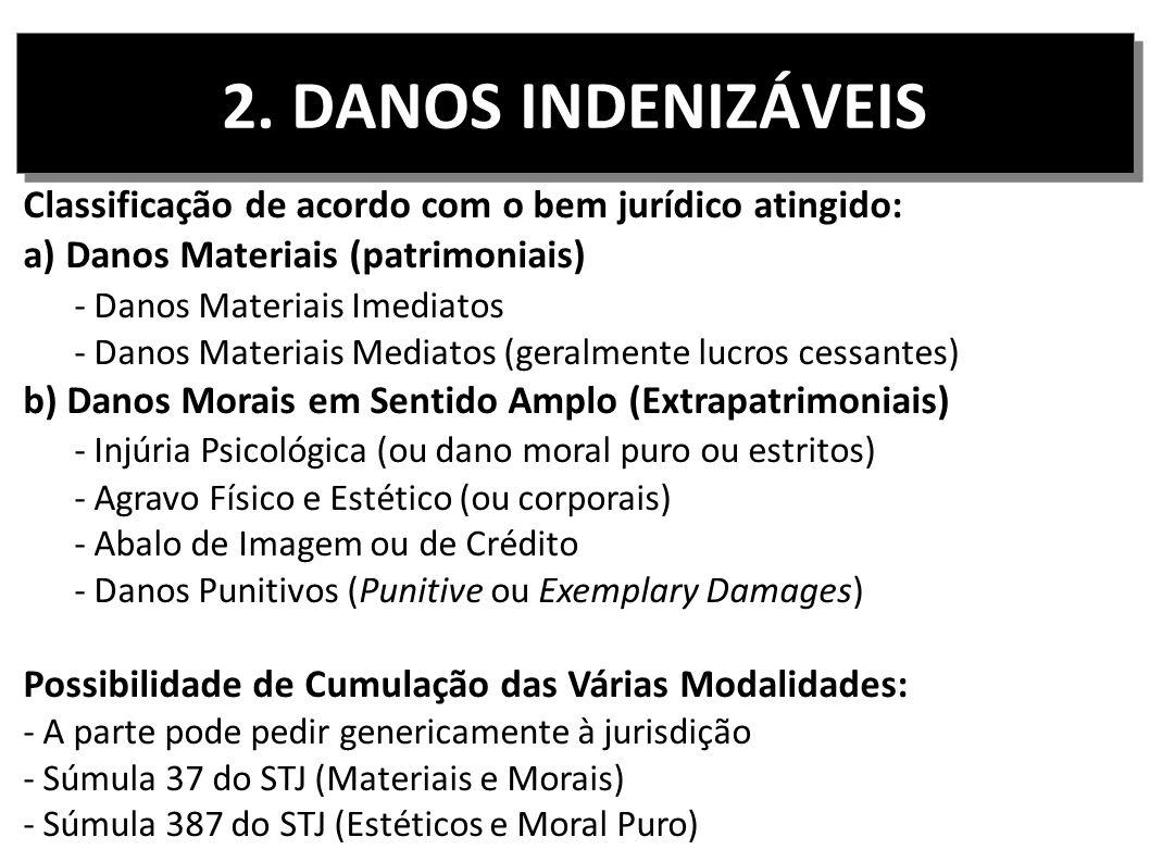 2. DANOS INDENIZÁVEIS Classificação de acordo com o bem jurídico atingido: a) Danos Materiais (patrimoniais) - Danos Materiais Imediatos - Danos Mater
