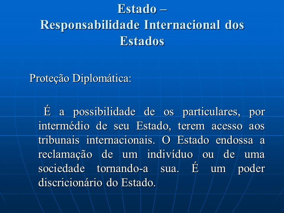Estado – Responsabilidade Internacional dos Estados Proteção Diplomática: É a possibilidade de os particulares, por intermédio de seu Estado, terem ac
