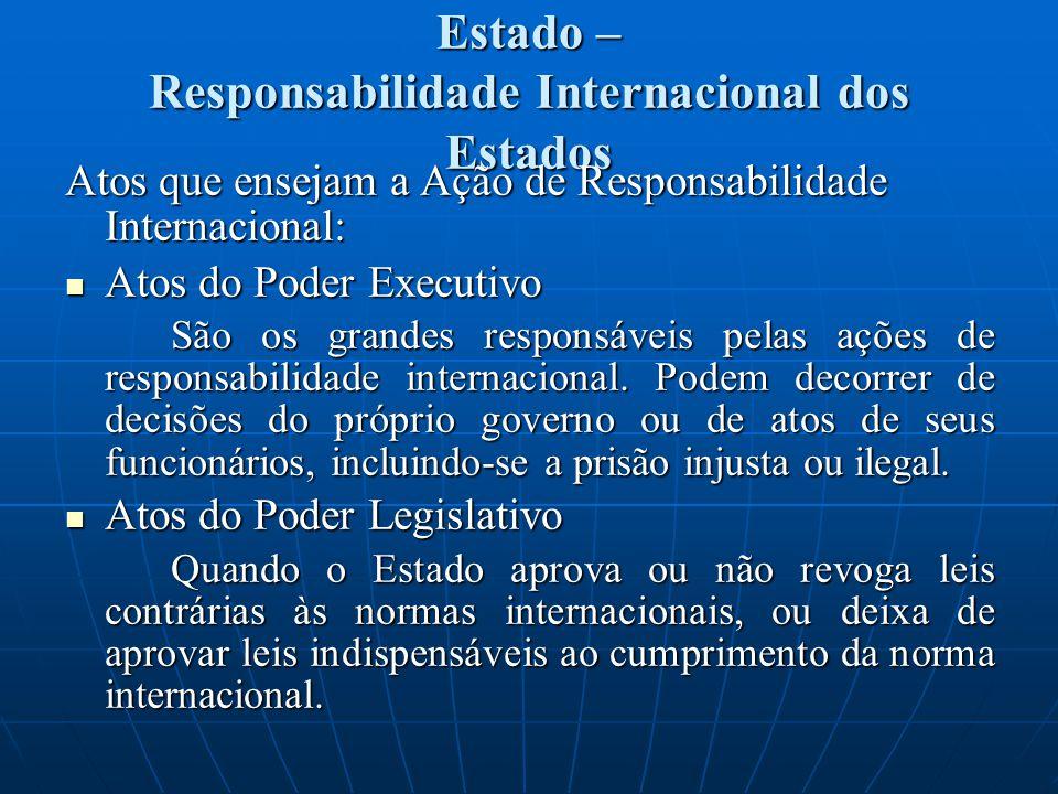 Estado – Responsabilidade Internacional dos Estados Atos que ensejam a Ação de Responsabilidade Internacional: Atos do Poder Executivo Atos do Poder Executivo São os grandes responsáveis pelas ações de responsabilidade internacional.