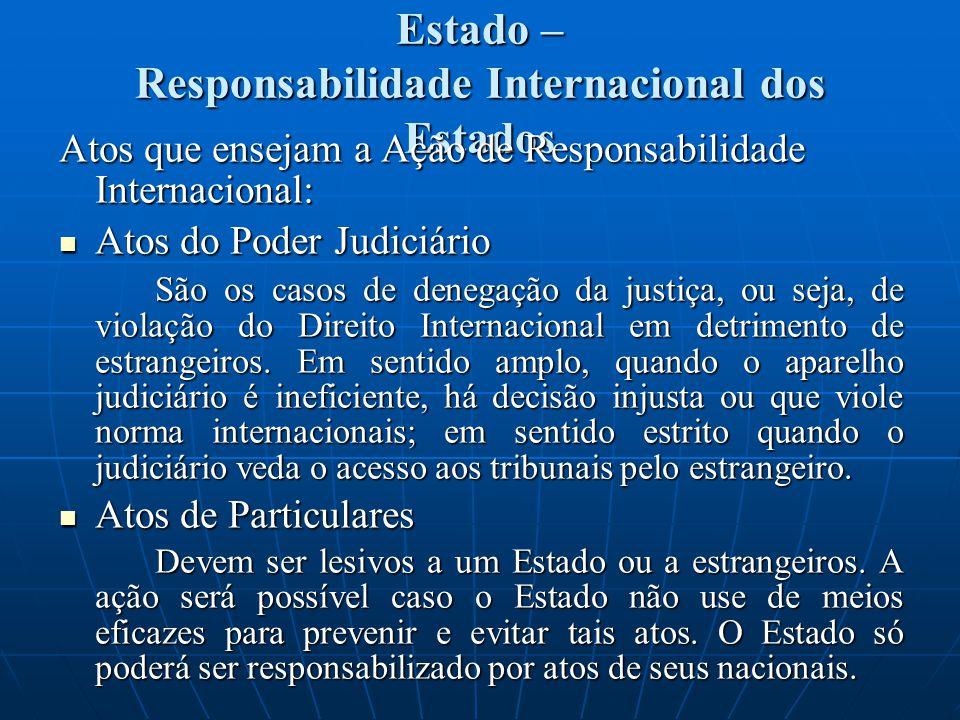 Estado – Responsabilidade Internacional dos Estados Atos que ensejam a Ação de Responsabilidade Internacional: Atos do Poder Judiciário Atos do Poder Judiciário São os casos de denegação da justiça, ou seja, de violação do Direito Internacional em detrimento de estrangeiros.