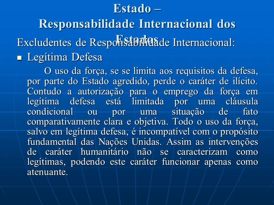 Estado – Responsabilidade Internacional dos Estados Excludentes de Responsabilidade Internacional: Legítima Defesa Legítima Defesa O uso da força, se se limita aos requisitos da defesa, por parte do Estado agredido, perde o caráter de ilícito.