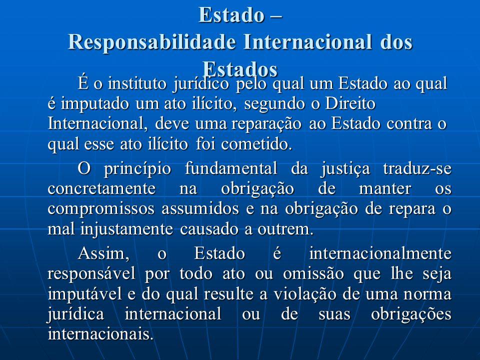 Estado – Responsabilidade Internacional dos Estados É o instituto jurídico pelo qual um Estado ao qual é imputado um ato ilícito, segundo o Direito Internacional, deve uma reparação ao Estado contra o qual esse ato ilícito foi cometido.