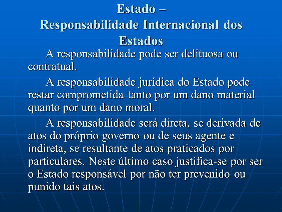 Estado – Responsabilidade Internacional dos Estados A responsabilidade pode ser delituosa ou contratual. A responsabilidade jurídica do Estado pode re