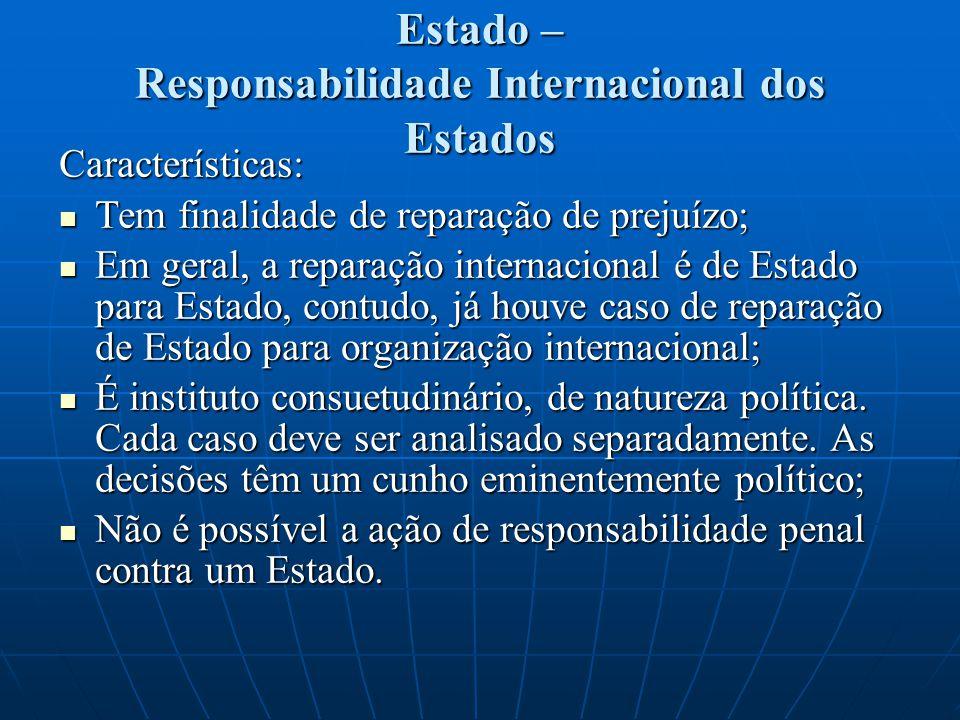 Estado – Responsabilidade Internacional dos Estados Características: Tem finalidade de reparação de prejuízo; Tem finalidade de reparação de prejuízo;