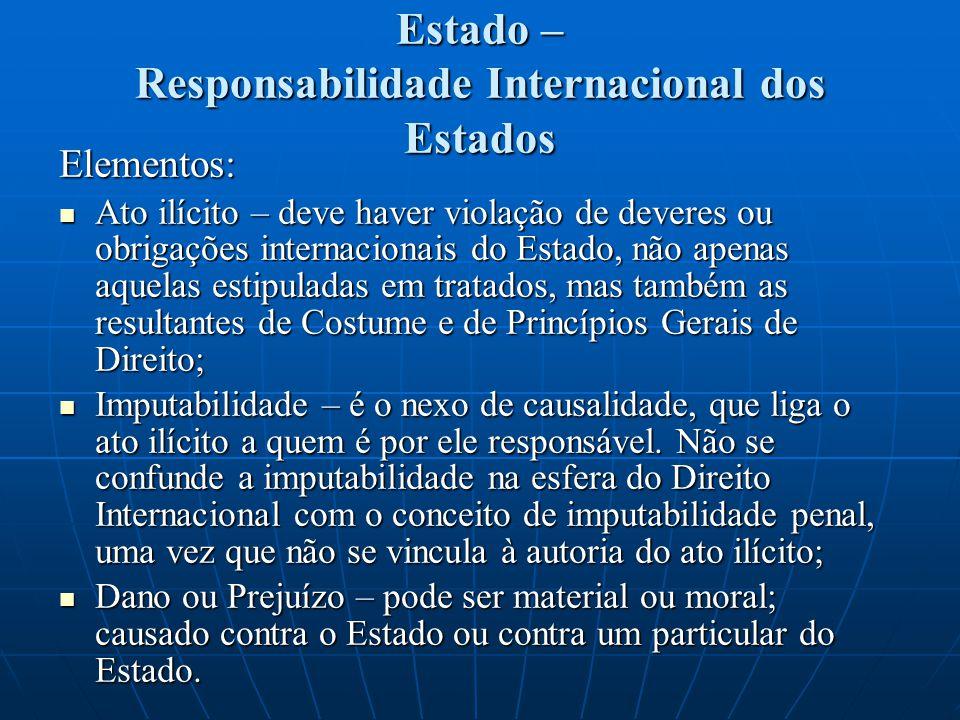 Estado – Responsabilidade Internacional dos Estados Segundo a Comissão de Direito Internacional da ONU, há um elemento objetivo, que é a violação de uma norma internacional e um elemento subjetivo, que é a atribuição dessa violação a um Estado.