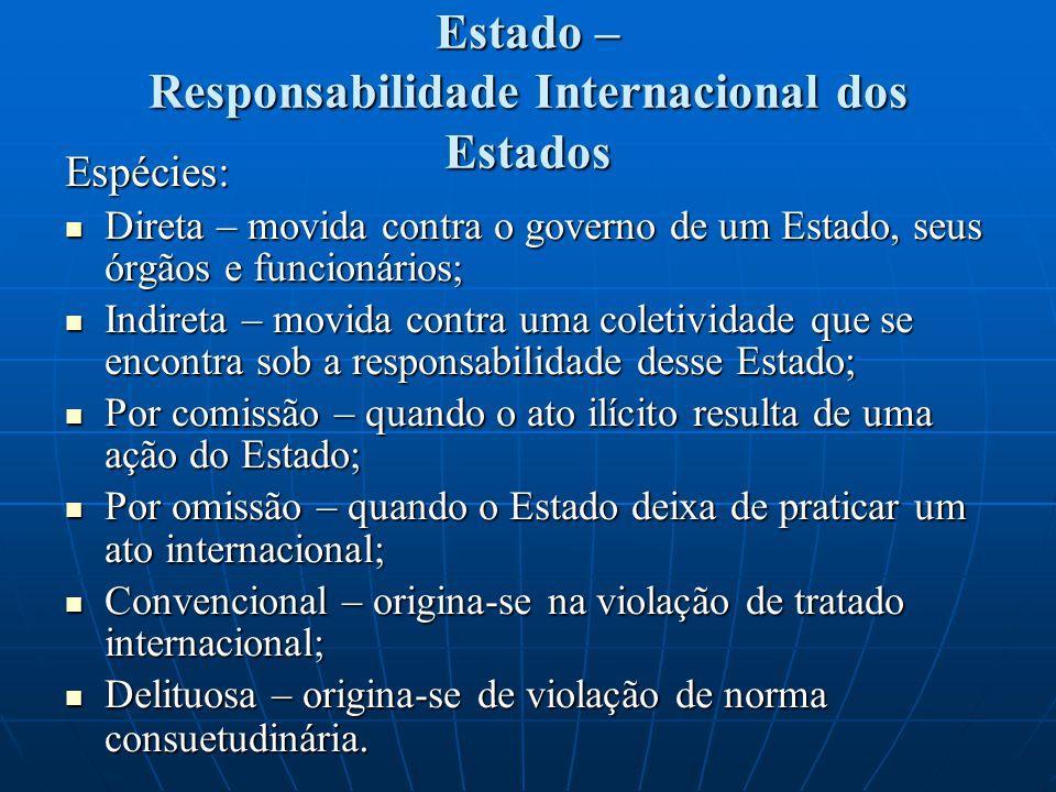 Estado – Responsabilidade Internacional dos Estados Espécies: Direta – movida contra o governo de um Estado, seus órgãos e funcionários; Direta – movi