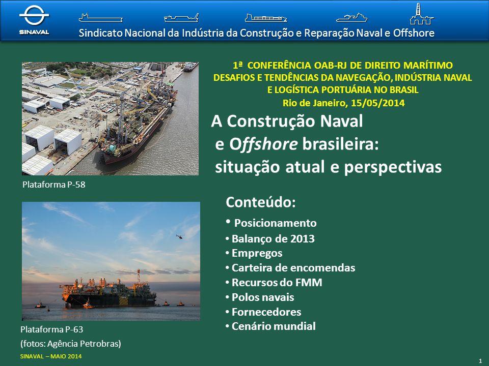 Sindicato Nacional da Indústria da Construção e Reparação Naval e Offshore 1ª CONFERÊNCIA OAB-RJ DE DIREITO MARÍTIMO DESAFIOS E TENDÊNCIAS DA NAVEGAÇÃ