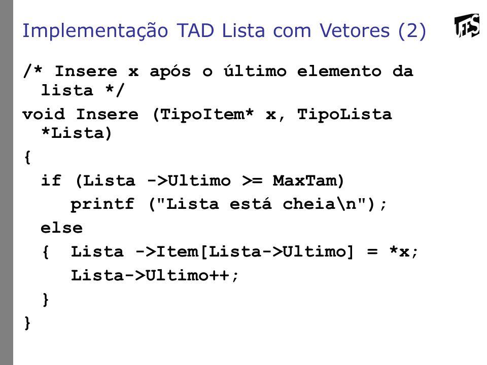 Implementação TAD Lista com Vetores (2) /* Insere x após o último elemento da lista */ void Insere (TipoItem* x, TipoLista *Lista) { if (Lista ->Ultimo >= MaxTam) printf ( Lista está cheia\n ); else {Lista ->Item[Lista->Ultimo] = *x; Lista->Ultimo++; }
