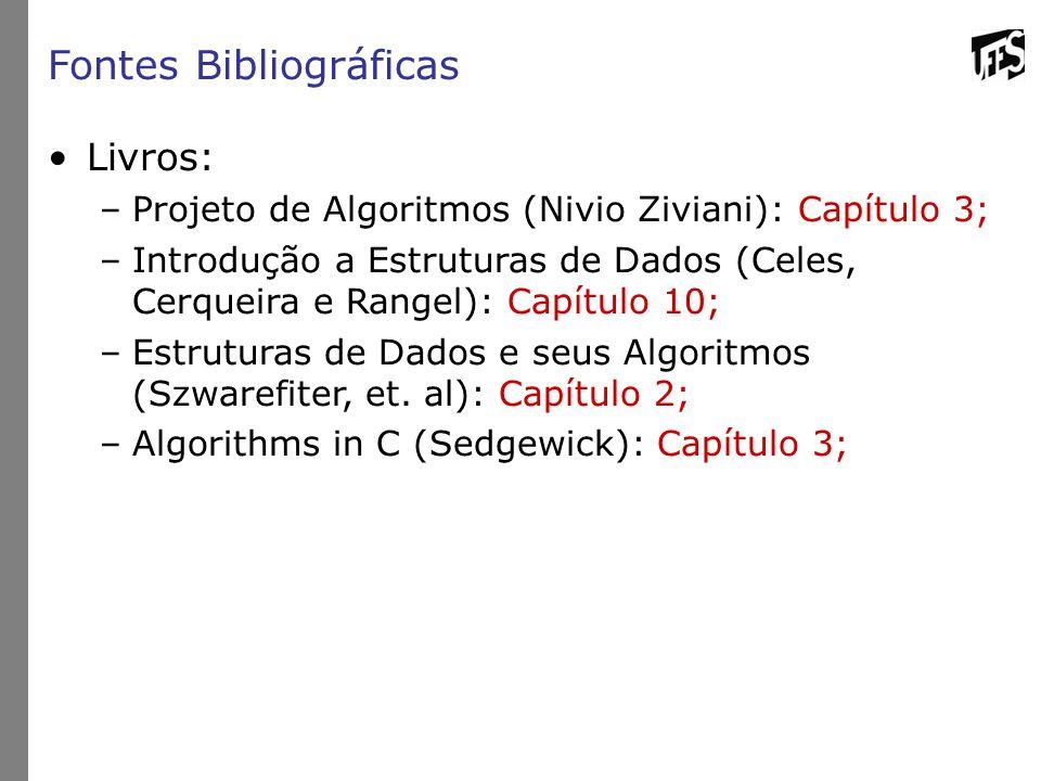 Fontes Bibliográficas Livros: –Projeto de Algoritmos (Nivio Ziviani): Capítulo 3; –Introdução a Estruturas de Dados (Celes, Cerqueira e Rangel): Capítulo 10; –Estruturas de Dados e seus Algoritmos (Szwarefiter, et.