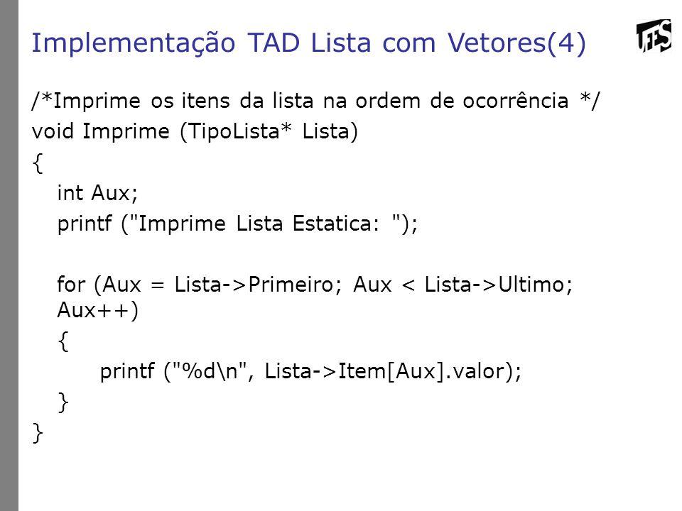 Implementação TAD Lista com Vetores(4) /*Imprime os itens da lista na ordem de ocorrência */ void Imprime (TipoLista* Lista) { int Aux; printf ( Imprime Lista Estatica: ); for (Aux = Lista->Primeiro; Aux Ultimo; Aux++) { printf ( %d\n , Lista->Item[Aux].valor); }