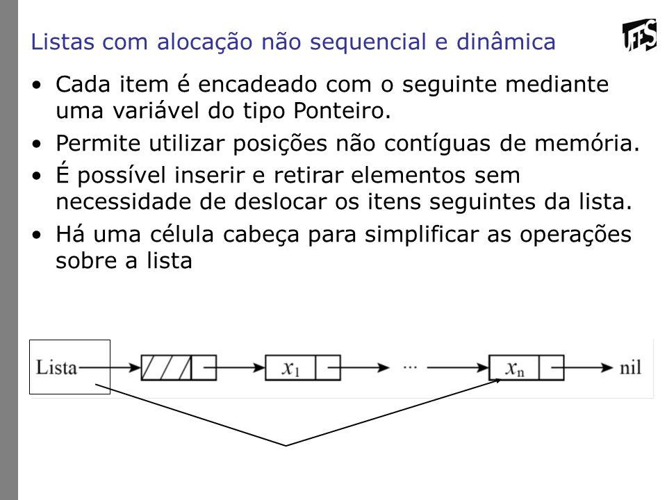 Listas com alocação não sequencial e dinâmica Cada item é encadeado com o seguinte mediante uma variável do tipo Ponteiro.