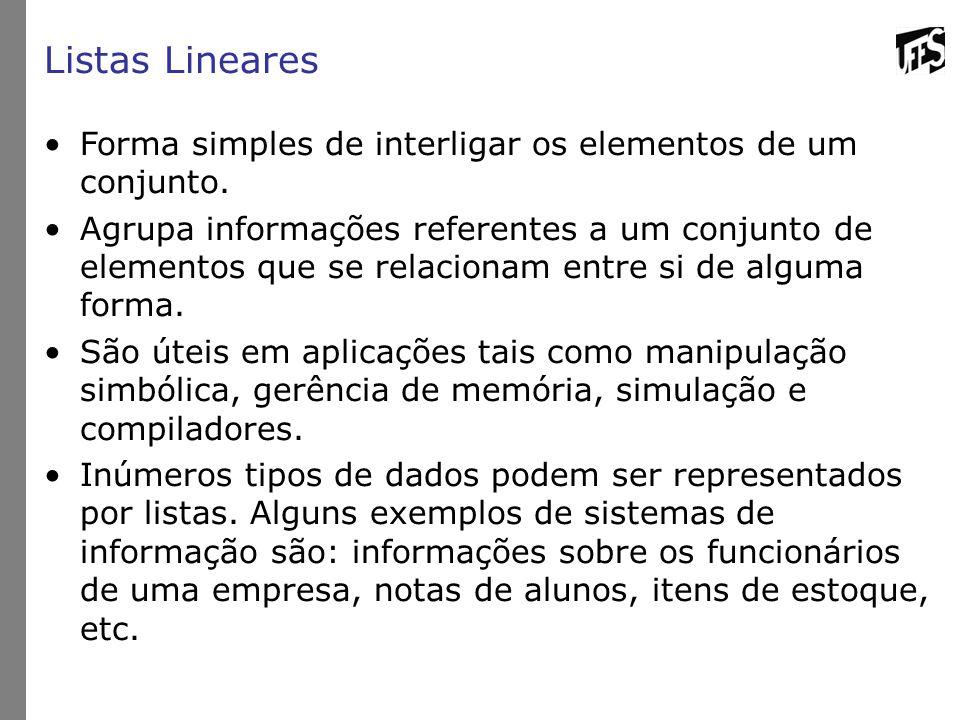 Listas Lineares Forma simples de interligar os elementos de um conjunto.