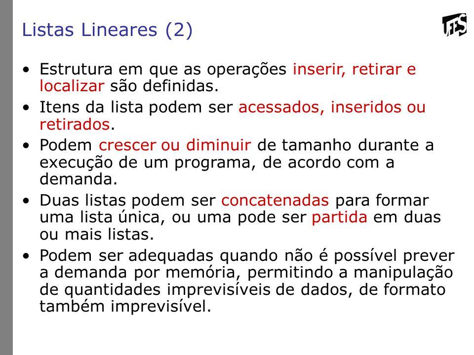 Listas Lineares (2) Estrutura em que as operações inserir, retirar e localizar são definidas.