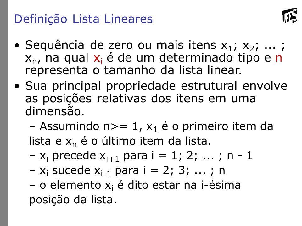 Definição Lista Lineares Sequência de zero ou mais itens x 1 ; x 2 ;...
