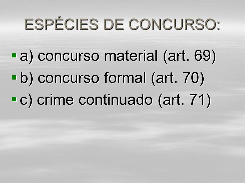 ESPÉCIES DE CONCURSO:  a) concurso material (art.