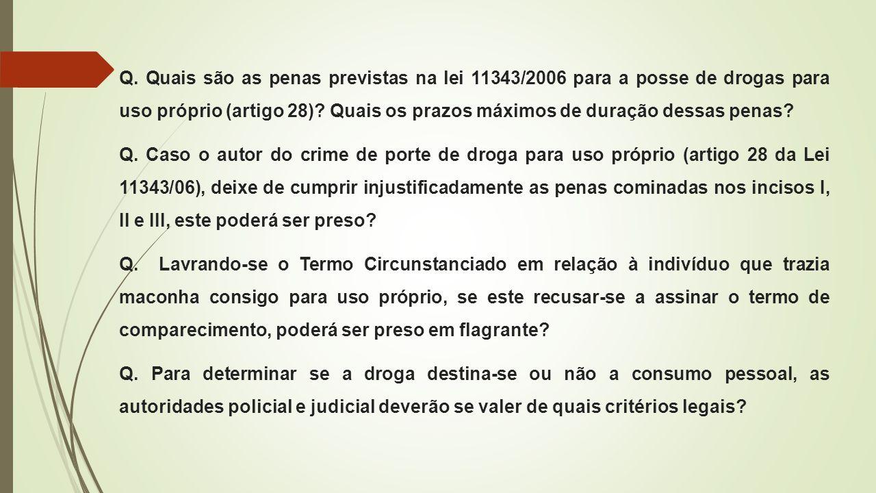 Q. Quais são as penas previstas na lei 11343/2006 para a posse de drogas para uso próprio (artigo 28)? Quais os prazos máximos de duração dessas penas