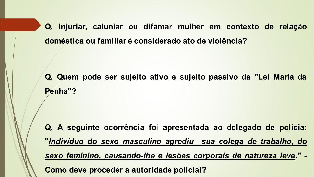 Q. Injuriar, caluniar ou difamar mulher em contexto de relação doméstica ou familiar é considerado ato de violência? Q. Quem pode ser sujeito ativo e
