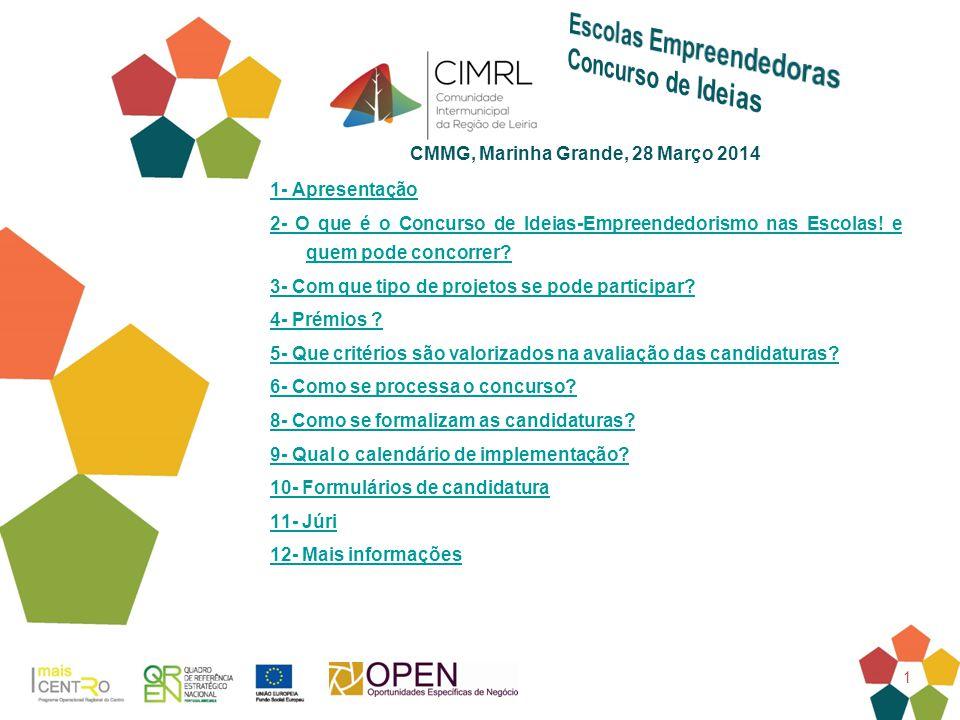 1 CMMG, Marinha Grande, 28 Março 2014 1- Apresentação 2- O que é o Concurso de Ideias-Empreendedorismo nas Escolas! e quem pode concorrer? 3- Com que