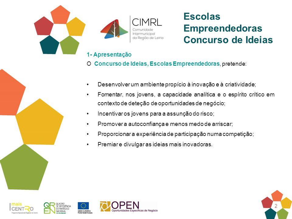 2 1- Apresentação O Concurso de Ideias, Escolas Empreendedoras, pretende: Desenvolver um ambiente propício à inovação e à criatividade; Fomentar, nos