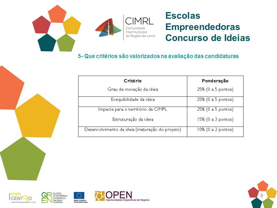 6 Escolas Empreendedoras Concurso de Ideias 5- Que critérios são valorizados na avaliação das candidaturas
