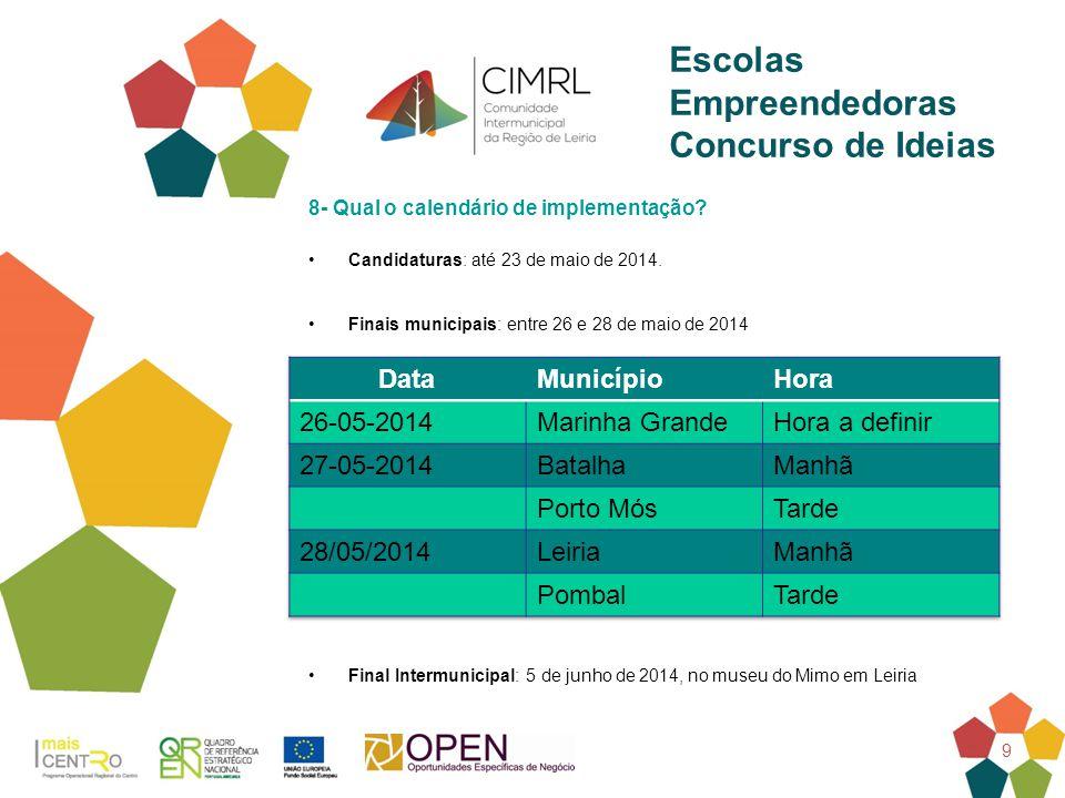 9 Escolas Empreendedoras Concurso de Ideias 8- Qual o calendário de implementação? Candidaturas: até 23 de maio de 2014. Finais municipais: entre 26 e