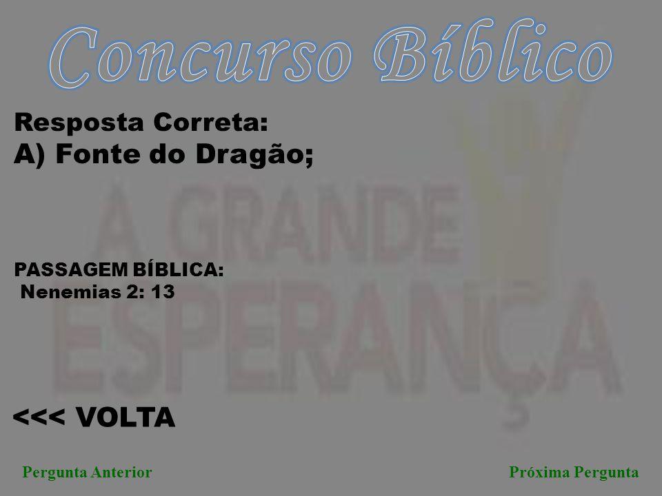<<< VOLTA Pergunta AnteriorPróxima Pergunta Resposta Correta: A) Fonte do Dragão; PASSAGEM BÍBLICA: Nenemias 2: 13