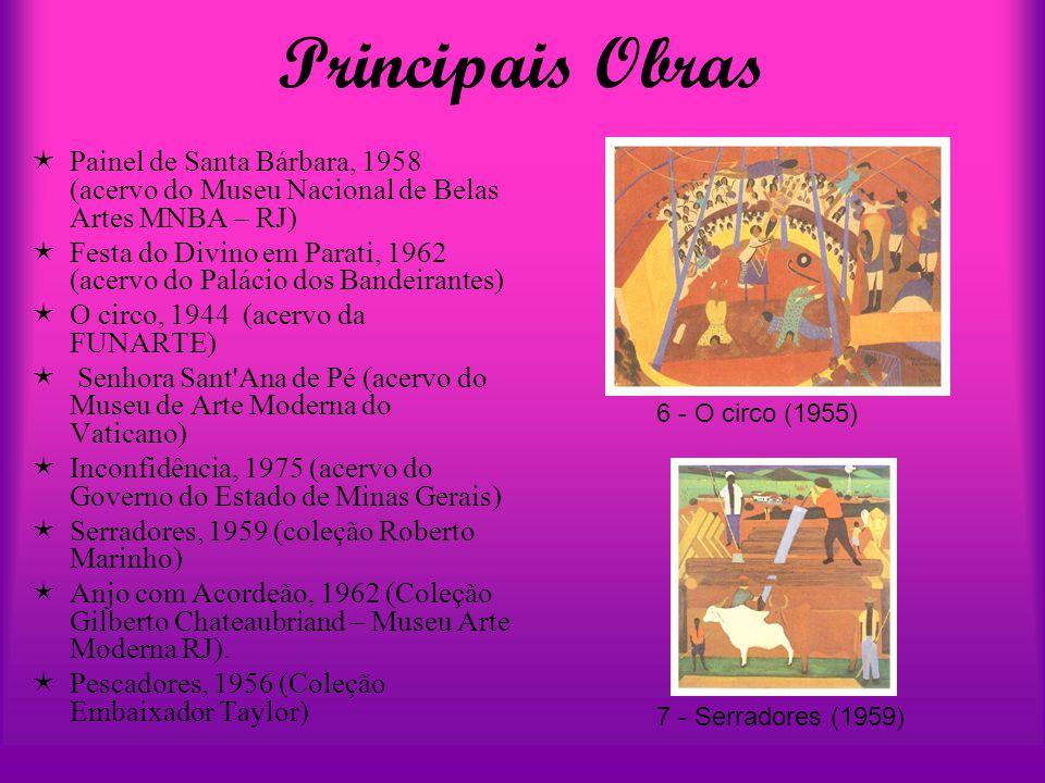 Principais Obras  Painel de Santa Bárbara, 1958 (acervo do Museu Nacional de Belas Artes MNBA – RJ)  Festa do Divino em Parati, 1962 (acervo do Palá