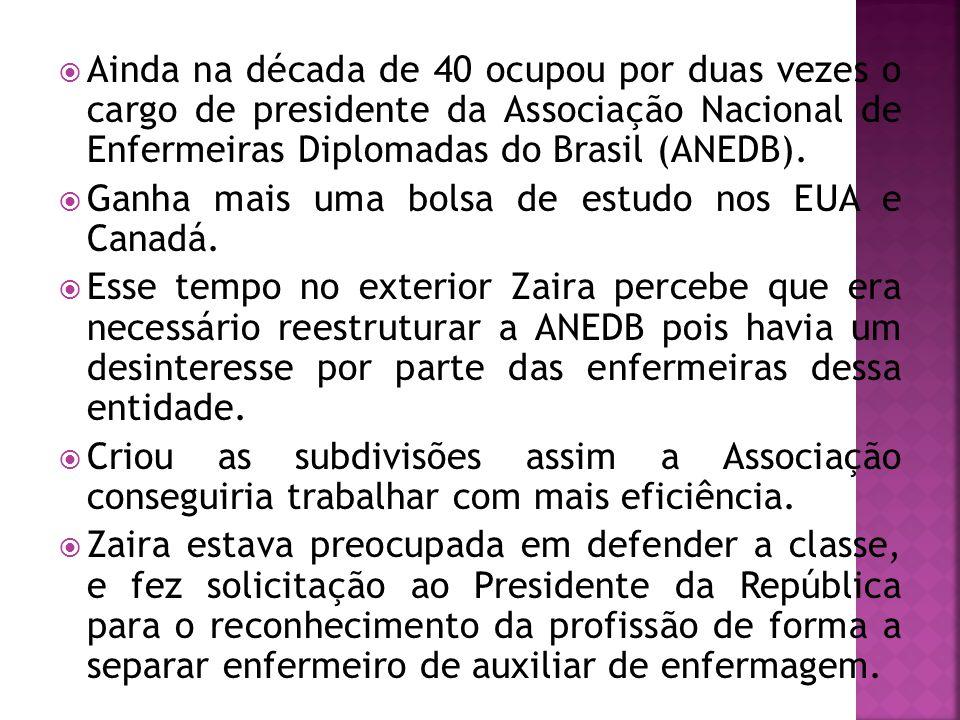  Ainda na década de 40 ocupou por duas vezes o cargo de presidente da Associação Nacional de Enfermeiras Diplomadas do Brasil (ANEDB).  Ganha mais u
