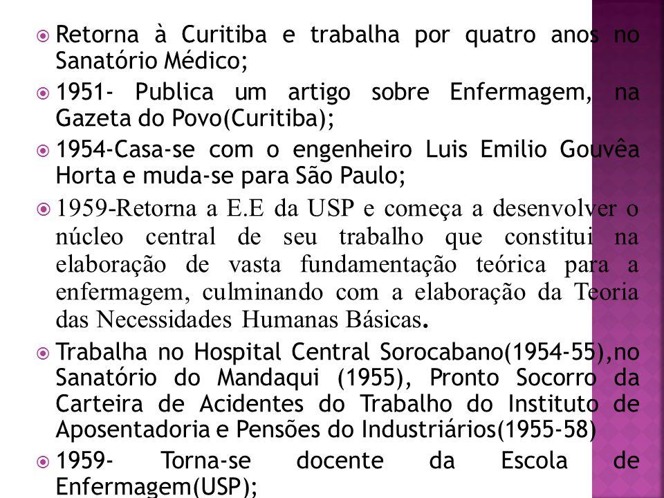  Retorna à Curitiba e trabalha por quatro anos no Sanatório Médico;  1951- Publica um artigo sobre Enfermagem, na Gazeta do Povo(Curitiba);  1954-C
