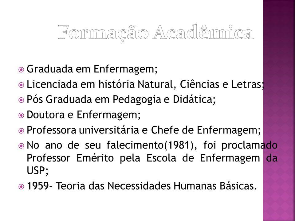  Graduada em Enfermagem;  Licenciada em história Natural, Ciências e Letras;  Pós Graduada em Pedagogia e Didática;  Doutora e Enfermagem;  Profe