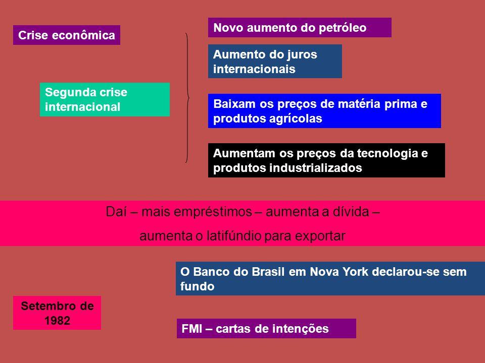 Segunda crise internacional Novo aumento do petróleo Aumento do juros internacionais Baixam os preços de matéria prima e produtos agrícolas Aumentam os preços da tecnologia e produtos industrializados Daí – mais empréstimos – aumenta a dívida – aumenta o latifúndio para exportar Crise econômica Setembro de 1982 O Banco do Brasil em Nova York declarou-se sem fundo FMI – cartas de intenções