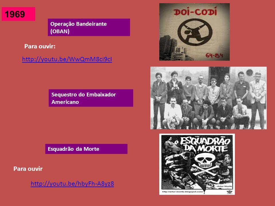 1969 Operação Bandeirante (OBAN) Sequestro do Embaixador Americano Esquadrão da Morte http://youtu.be/WwQmM8ci9cI Para ouvir: http://youtu.be/hbyFh-A8yz8 Para ouvir