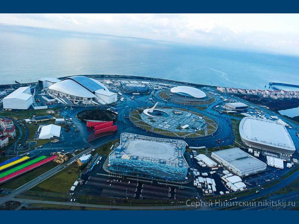 A esquema Parque Olímpico de Sóchi Construído a partir de zero esportes instalações em Sochi estão dispostas ordenadamente dentro do grande círculo ao