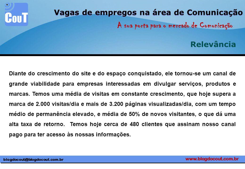 www.blogdocout.com.br blogdocout@blogdocout.com.br A sua porta para o mercado de Comunicação Vagas de empregos na área de Comunicação Relevância Diant