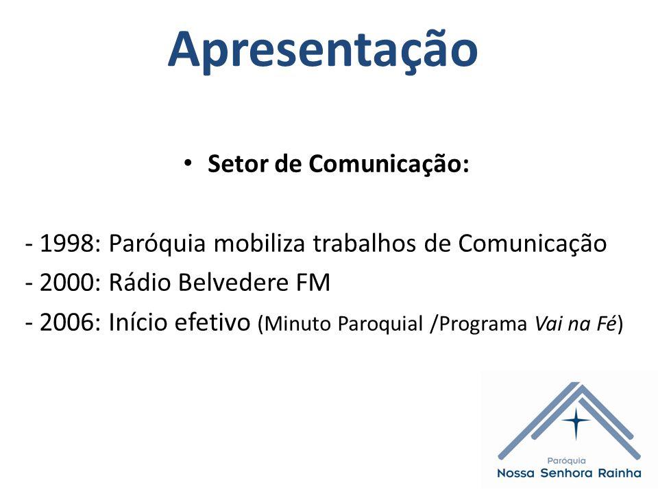 Apresentação Setor de Comunicação: - 1998: Paróquia mobiliza trabalhos de Comunicação - 2000: Rádio Belvedere FM - 2006: Início efetivo (Minuto Paroquial /Programa Vai na Fé)