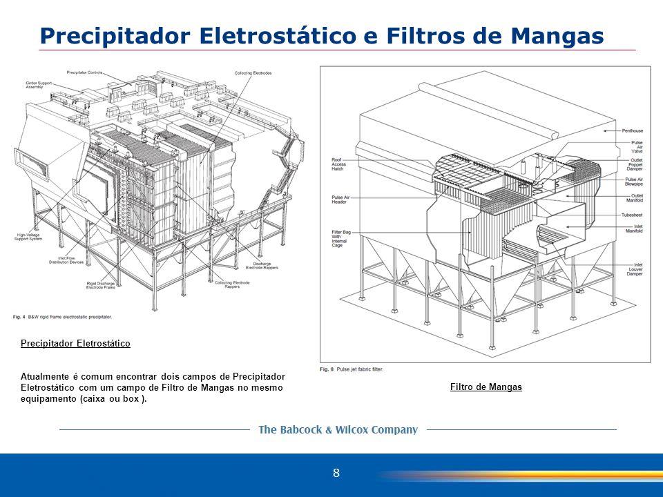 8 Filtro de Mangas Precipitador Eletrostático Atualmente é comum encontrar dois campos de Precipitador Eletrostático com um campo de Filtro de Mangas no mesmo equipamento (caixa ou box ).
