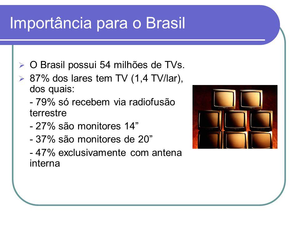 Importância para o Brasil  O Brasil possui 54 milhões de TVs.  87% dos lares tem TV (1,4 TV/lar), dos quais: - 79% só recebem via radiofusão terrest