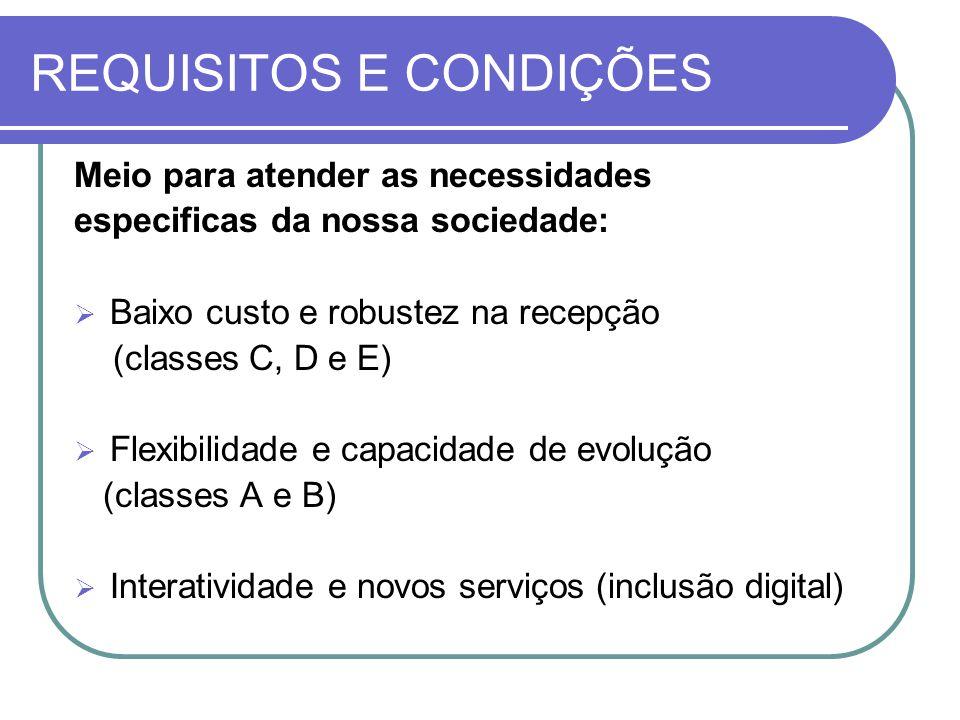 REQUISITOS E CONDIÇÕES Meio para atender as necessidades especificas da nossa sociedade:  Baixo custo e robustez na recepção (classes C, D e E)  Fle