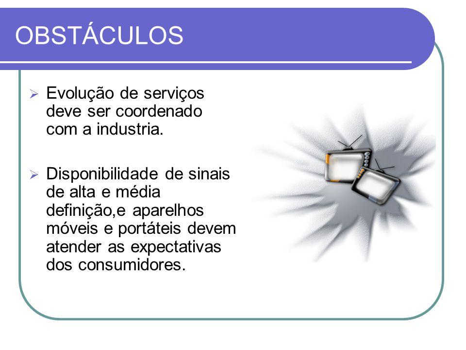 OBSTÁCULOS  Evolução de serviços deve ser coordenado com a industria.  Disponibilidade de sinais de alta e média definição,e aparelhos móveis e port