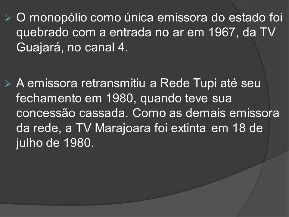 O monopólio como única emissora do estado foi quebrado com a entrada no ar em 1967, da TV Guajará, no canal 4.  A emissora retransmitiu a Rede Tupi