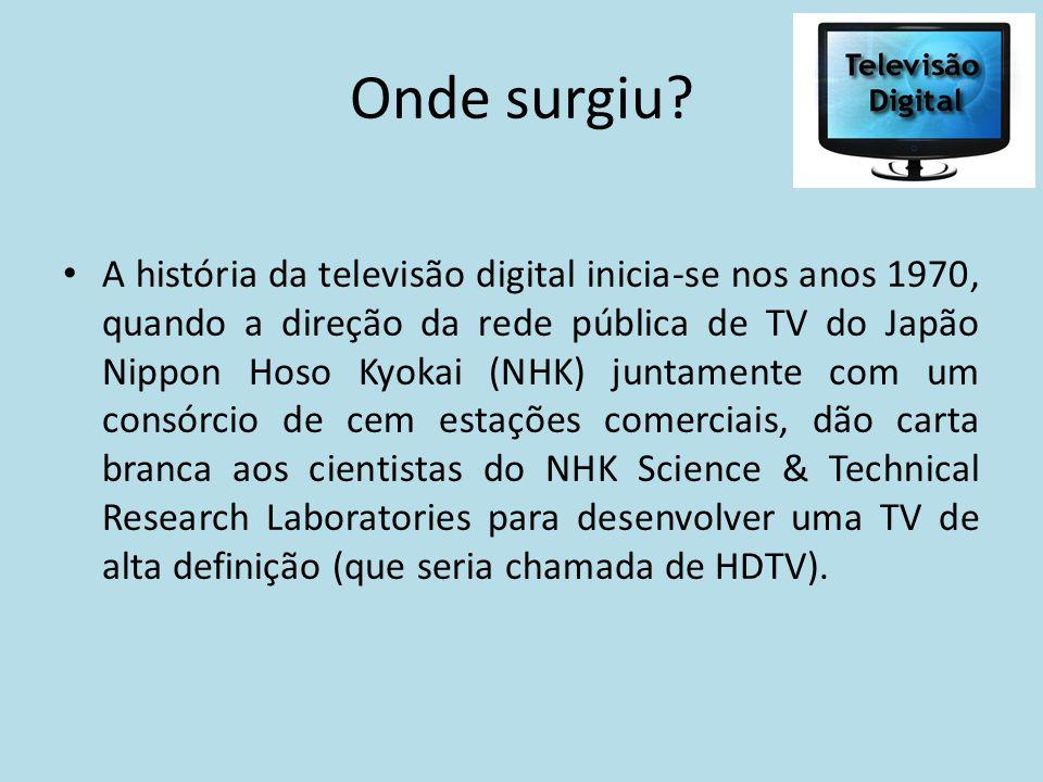 Onde surgiu? A história da televisão digital inicia-se nos anos 1970, quando a direção da rede pública de TV do Japão Nippon Hoso Kyokai (NHK) juntame