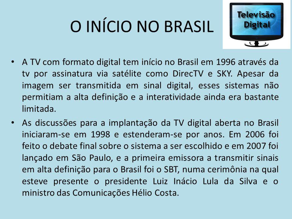 A TV com formato digital tem início no Brasil em 1996 através da tv por assinatura via satélite como DirecTV e SKY. Apesar da imagem ser transmitida e