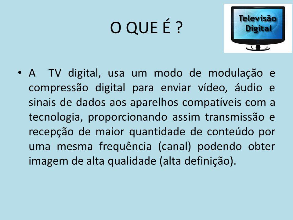 O QUE É ? A TV digital, usa um modo de modulação e compressão digital para enviar vídeo, áudio e sinais de dados aos aparelhos compatíveis com a tecno