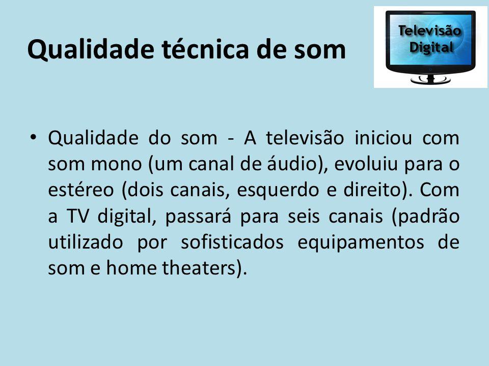 Qualidade técnica de som Qualidade do som - A televisão iniciou com som mono (um canal de áudio), evoluiu para o estéreo (dois canais, esquerdo e dire