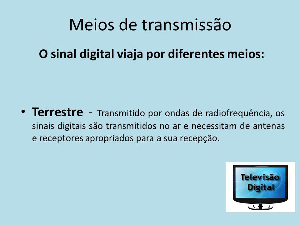 Meios de transmissão O sinal digital viaja por diferentes meios: Terrestre - Transmitido por ondas de radiofrequência, os sinais digitais são transmit