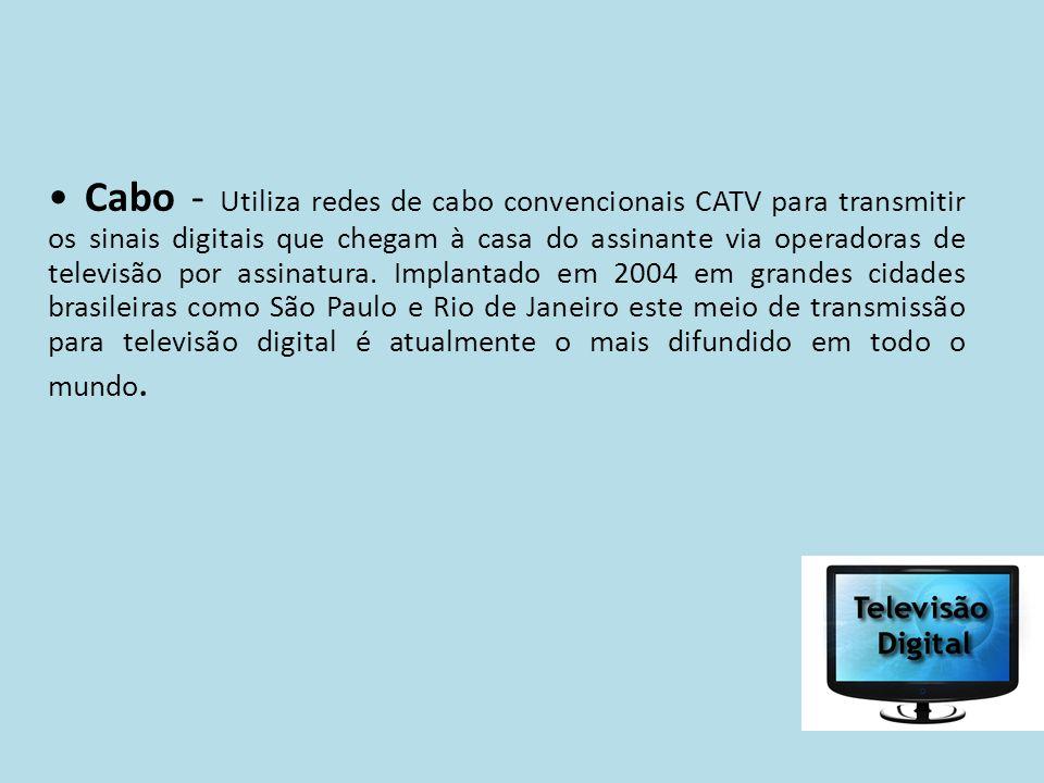 Cabo - Utiliza redes de cabo convencionais CATV para transmitir os sinais digitais que chegam à casa do assinante via operadoras de televisão por assi